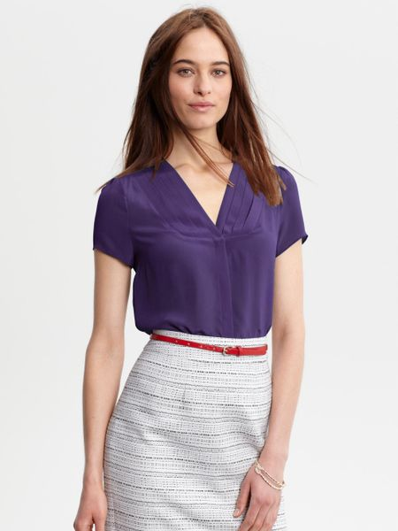 Banana Republic Silk Pleat Front Blouse In Purple Deep
