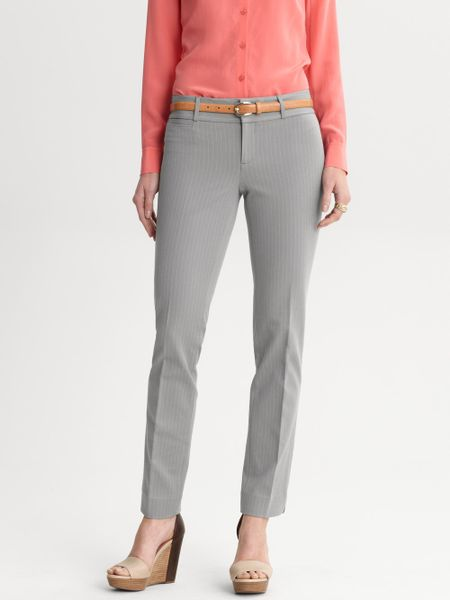 Banana Republic Sloanfit Striped Ankle Pant in Gray