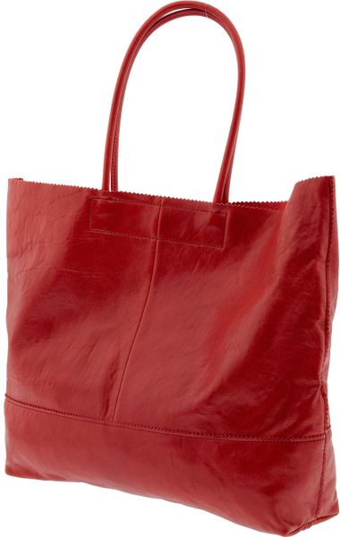 Banana Republic Leather Market Tote in Red | Lyst