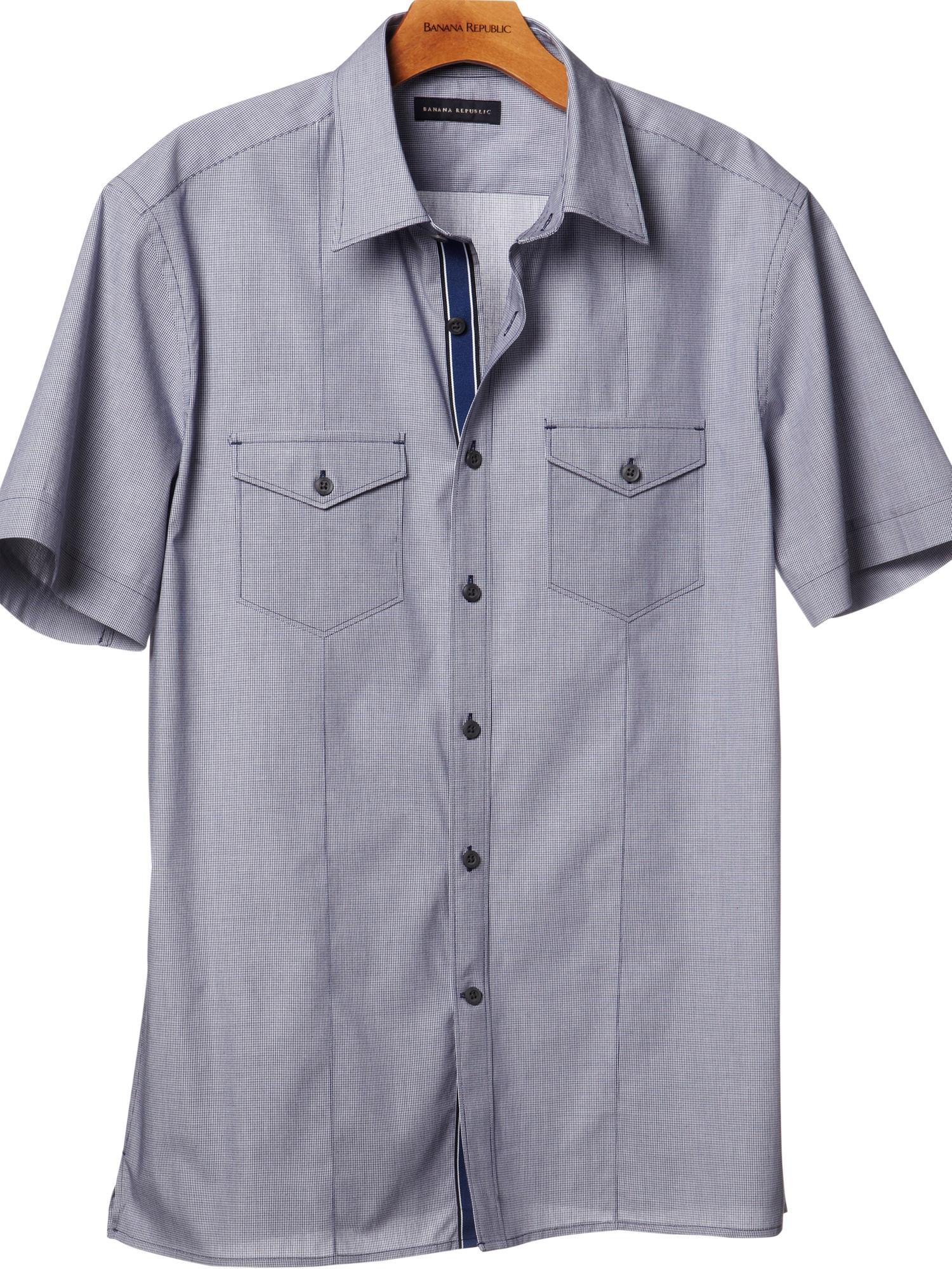 Banana republic shortsleeve solid utility shirt in blue for Royal purple mens dress shirts