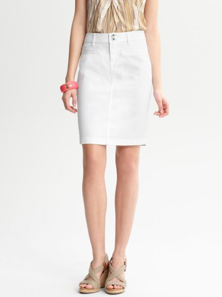 banana republic white denim skirt in white lyst