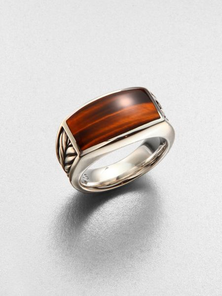 David Yurman Exotic Stone Ring In Brown For Men Silver