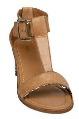 Dune Fenton D T Bar Snake Leather Mix Sandals in Brown (tan) - Lyst