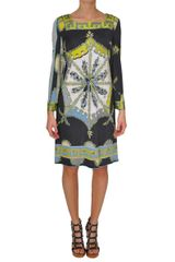Emilio Pucci Bouquet Printed Dress in Green - Lyst