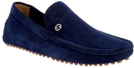 Gucci Suede Loafer in Blue for Men - Lyst