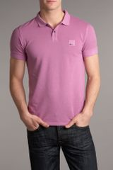 Hugo Boss Patch Logo Polo Shirt in Purple for Men - Lyst