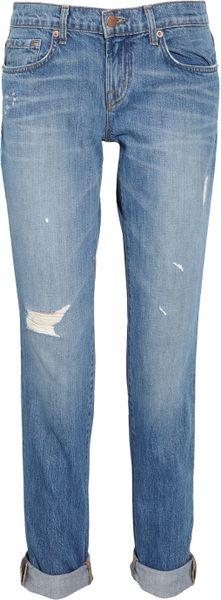 J Brand Aiden Distressed Boyfriendfit Jeans in Blue