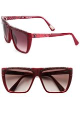 Lanvin Snakeprint Leather Accented Modified Square Sunglasses in Brown (bordeaux) - Lyst