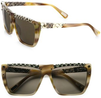 Lanvin Snakeprint Leather Accented Modified Square Sunglasses - Lyst