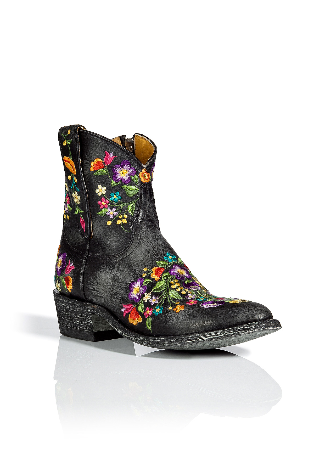 Lyst - Mexicana Black Flower Embroidered Ankle Boots in Black