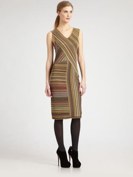 Missoni Lurex Stripe Dress in Brown (gold) - Lyst