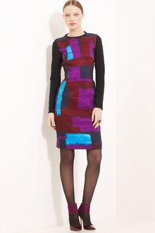 Oscar de la Renta Colorblock Silk Faille Dress - Lyst