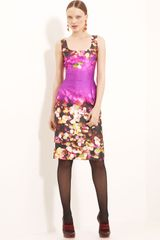 Oscar de la Renta Leaf Print Silk Cotton Dress - Lyst