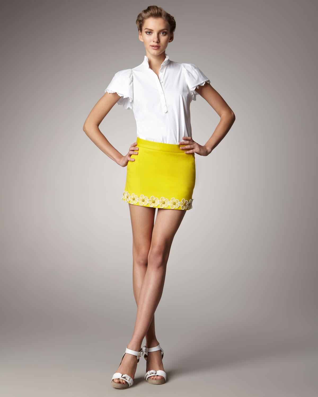 Red valentino Daisy Hem Mini Skirt in Yellow | Lyst