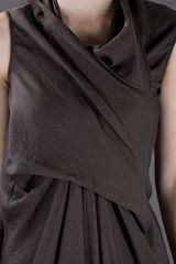 Rick Owens Draped Dress in Brown - Lyst
