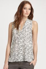 Theory Moha Floralprint Silk Top in Brown (white) - Lyst