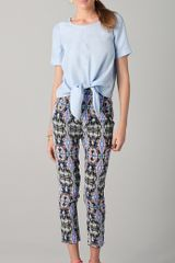 Tibi Tie Front Blouse in Blue (powder) - Lyst