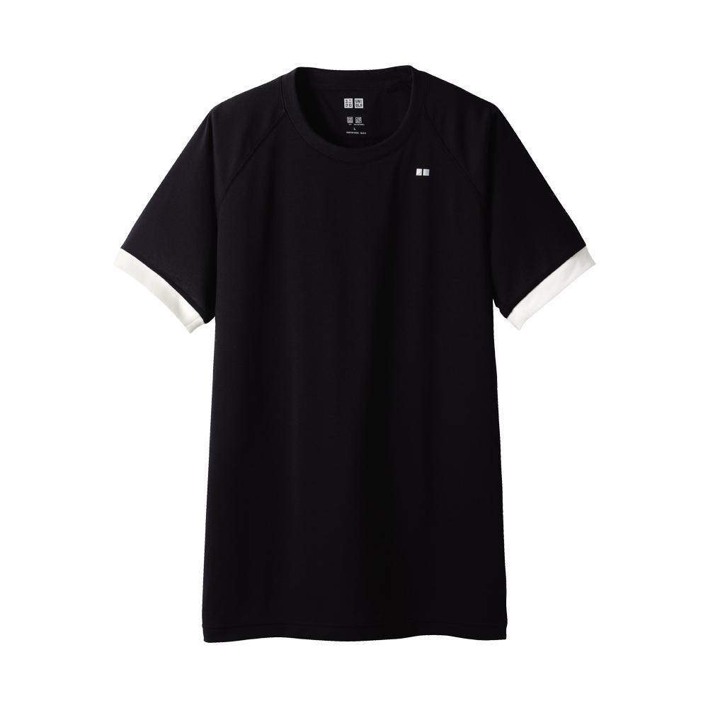 Uniqlo Men Dry Crew Neck Short Sleeve T Shirt In Black For