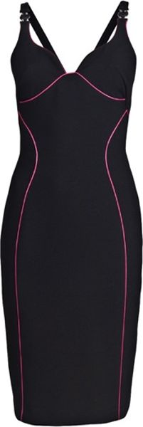 Versace Piping Dress in Black - Lyst