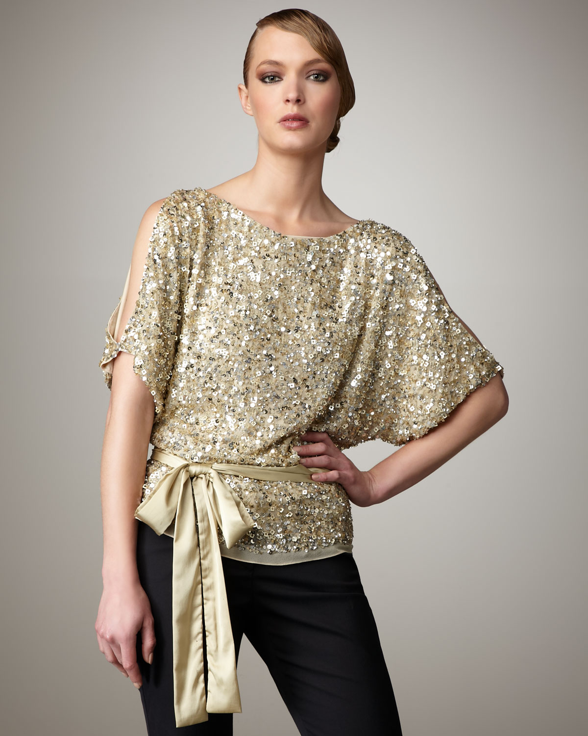 Top Women S Fashion Magazines: Aidan Mattox Cold Shoulder Sequin Top In Metallic