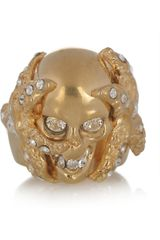 Alexander Mcqueen Swarovski Crystal Skull and Starfish Ring in Gold - Lyst