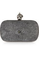 Alexander Mcqueen Punk Shell Stingray Box Clutch in Gray (pewter) - Lyst