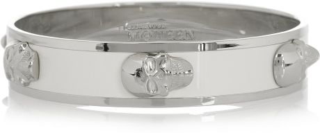 Alexander Mcqueen Enameled Skull Bangle in Silver - Lyst