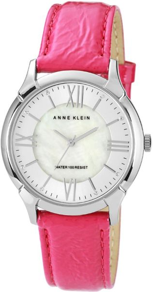 Anne Klein Womens Magenta Crinkled Patent Leather Strap 36mm 10 in Purple (magenta) - Lyst