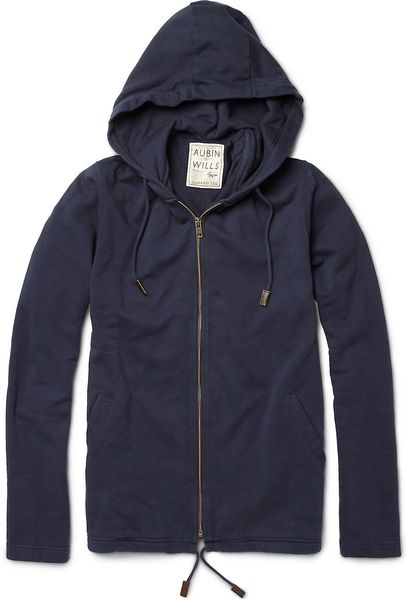 Aubin & Wills Dallison Loopbackcotton Hoodie in Blue for Men - Lyst