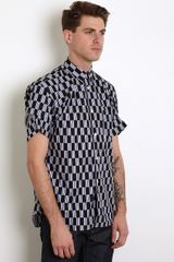 Comme Des Garçons Elbow Detail Check Shirt in Blue for Men - Lyst