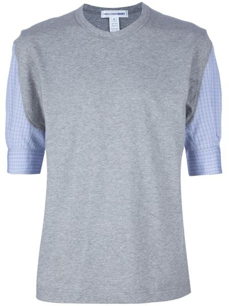 Comme Des Garçons Checked Sleeve Top in Gray for Men (grey) - Lyst