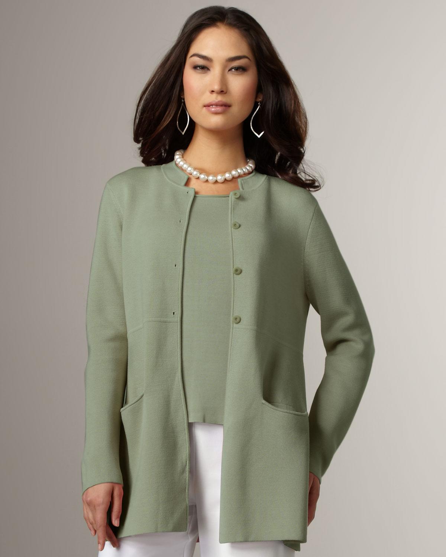 Eileen Fisher Long Jacket In Green Sea Lyst