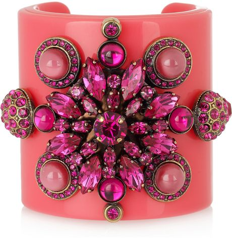 Emilio Pucci Plexiglass and Crystal Cuff in Pink - Lyst