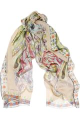 Etro Printed Silk Chiffon Scarf in Multicolor (multicolored) - Lyst