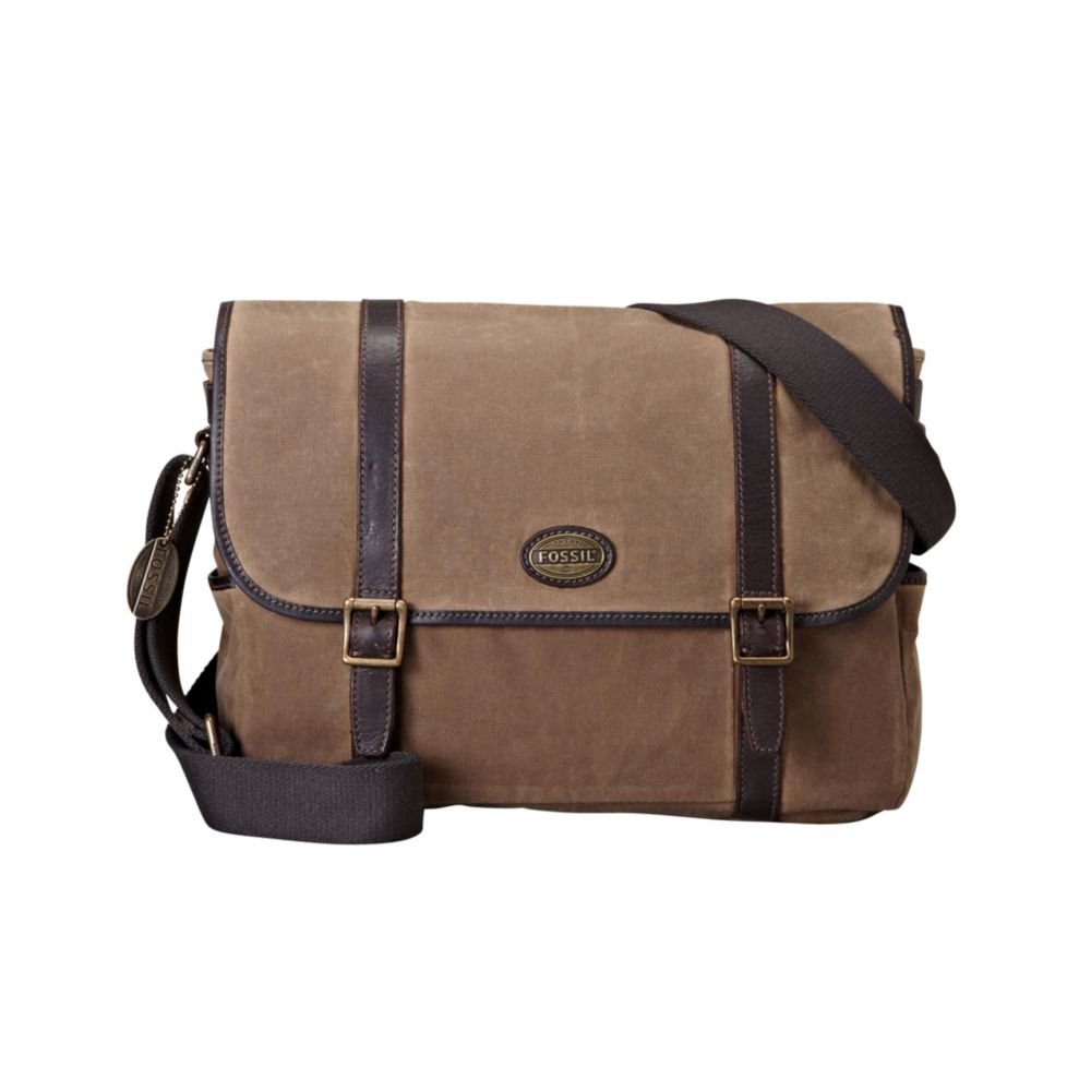 58c6a79109 Lyst - Fossil Estate Waxed Canvas East West Messenger Bag in Natural ...