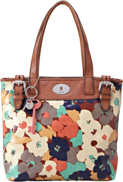 Fossil Vintage Keyper Coated Canvas Shopper in Multicolor (floral) - Lyst