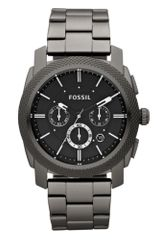 Fossil Mens Chronograph Gray Plated Stainless Steel Bracelet