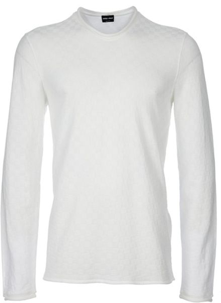 Giorgio Armani Long Sleeved Top in White for Men - Lyst