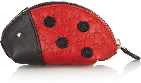 Gucci Lady Bug Leather Coin Purse in Red