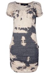Isabel Marant Tie Dye Dress in Gray (cream) - Lyst