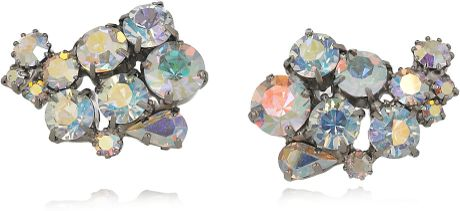 Jil Sander Paisley Crystal Clip Earrings in Silver - Lyst