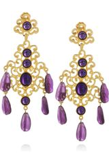 Kenneth Jay Lane 22karat Goldplated Cabochon Clip Earrings - Lyst