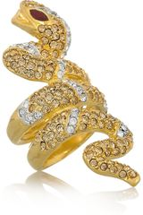 Kenneth Jay Lane Goldplated Crystal Serpent Ring - Lyst