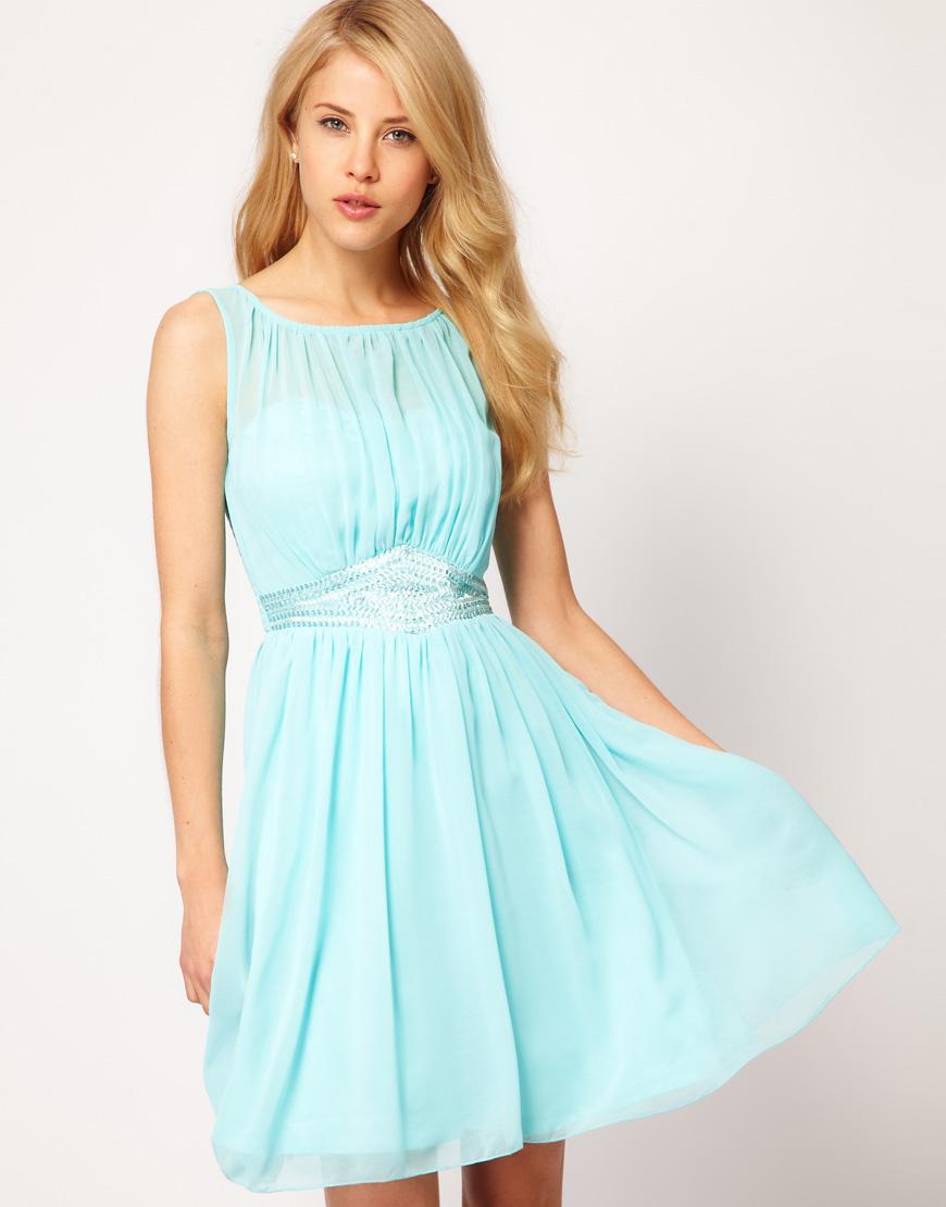 little mistress little mistress embellished waistband dress in blue lyst. Black Bedroom Furniture Sets. Home Design Ideas
