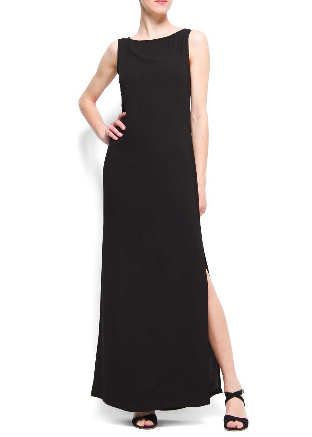 Lyst Mango Straight Cut Long Dress In Black