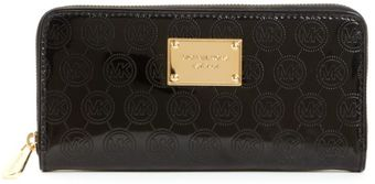 Michael Kors Jet Set Monogram Mirror Metallic Zip Around Wallet - Lyst
