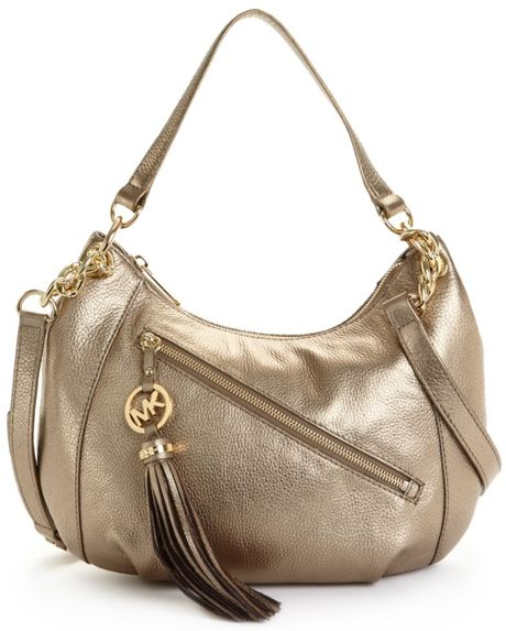 Michael Kors Charm Tassel Convertible Shoulder Bag in Gold (bronze) - Lyst
