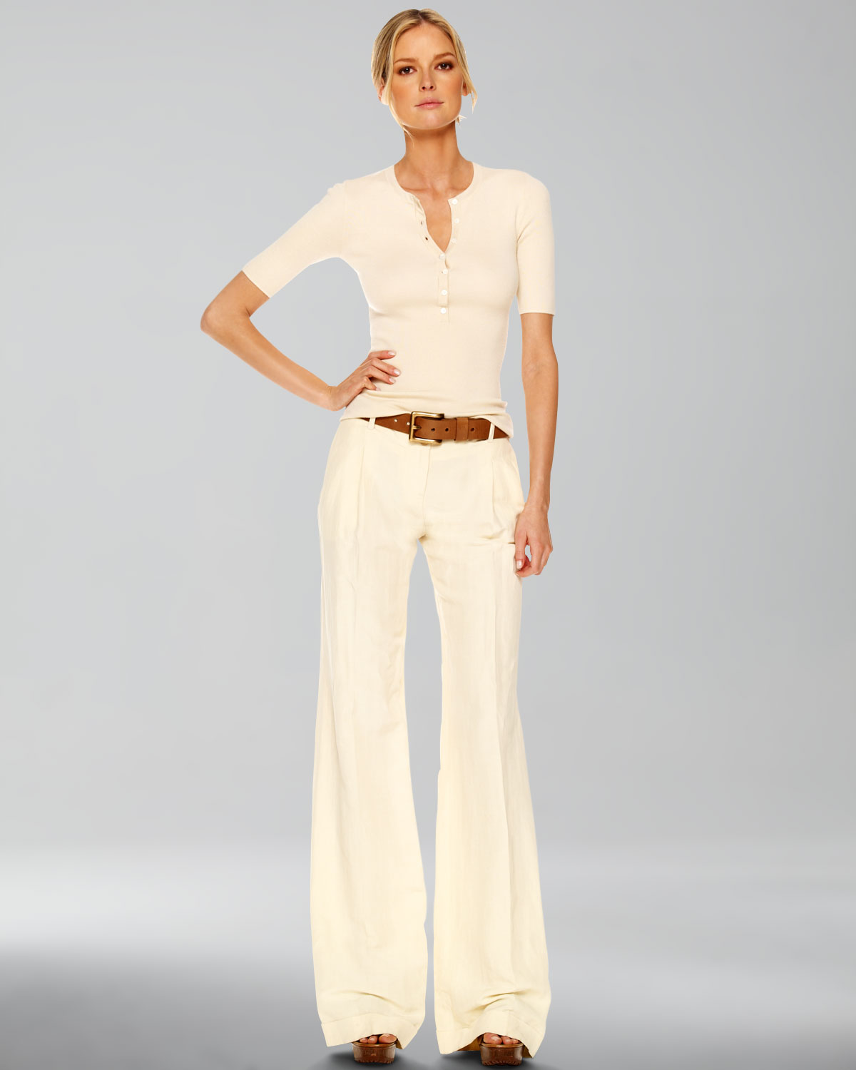 Michael kors Wide Leg Pants in White | Lyst