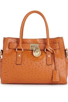 Michael Kors Hamilton Gold Hardware Ostrich East West Tote - Lyst