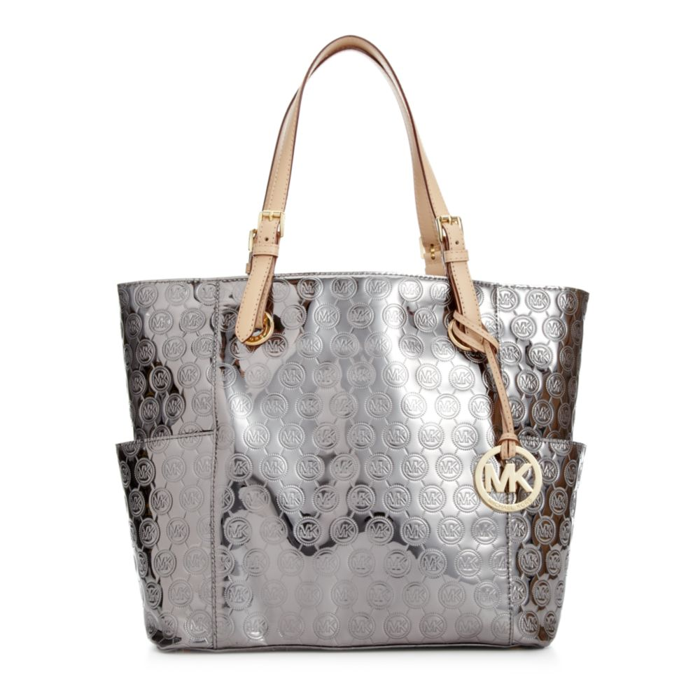 bf2819c3f79220 Michael Kors Michael Signature Patent East West Tote in Silver (Nickel) |  Lyst